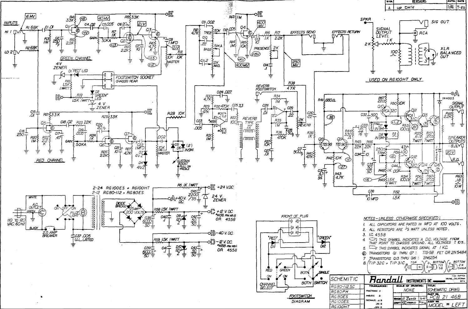 randall schematics tube amp schematics rh el34world com Randall RG100ES Review Randall RG100ES Schematic
