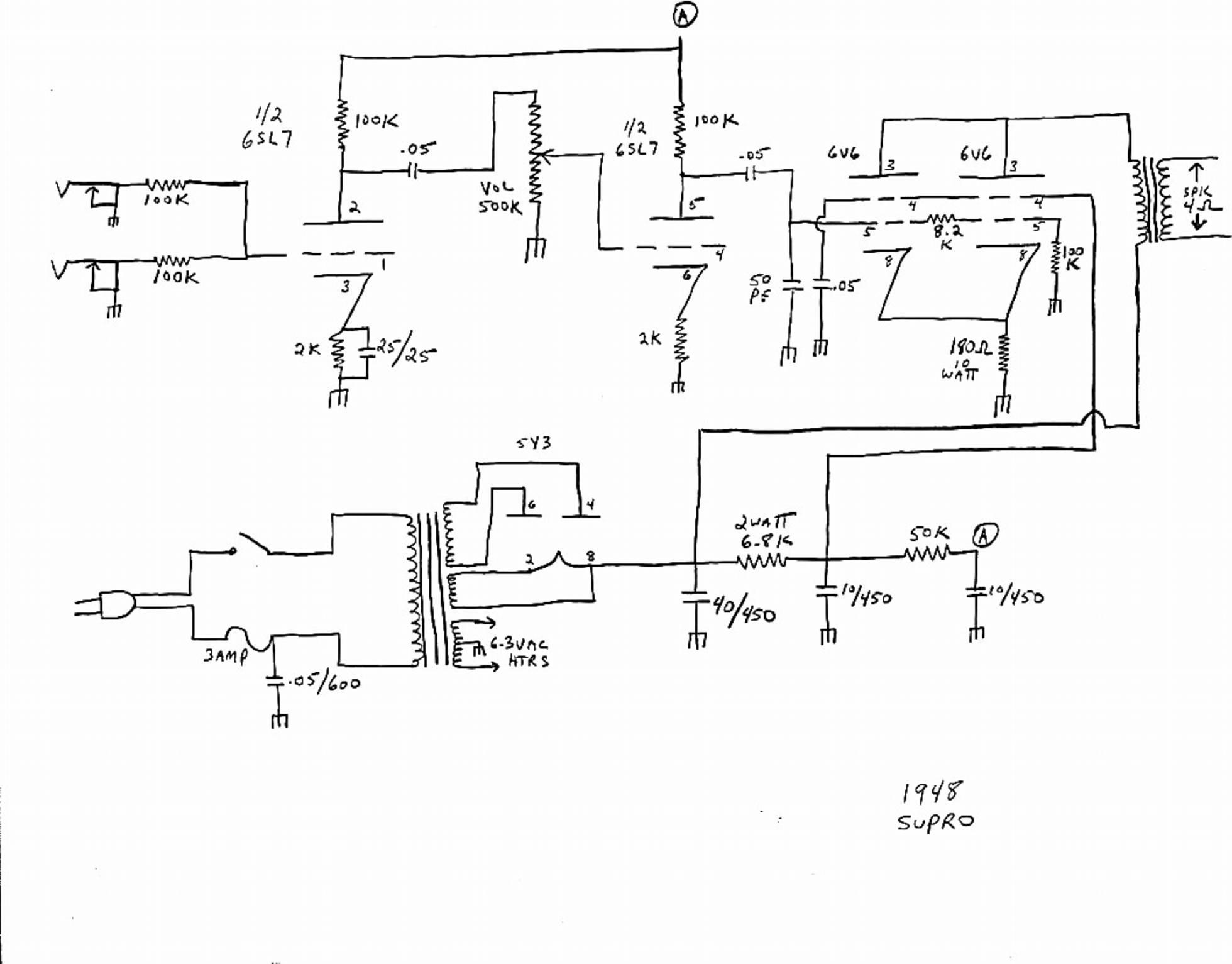 Valco Schematics Tube Amp Schematic 40 1948supro 142 Kb